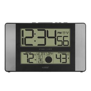 La Crosse� Technology Atomic Digital Wall Clock w/Temperature & Moon Phases (Aluminum)