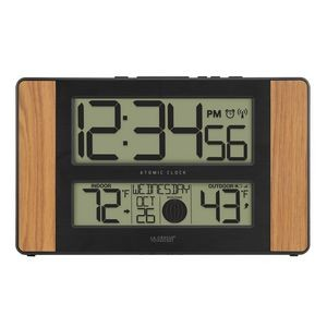 La Crosse� Technology Atomic Digital Wall Clock w/Temperature & Moon Phases (Wood)